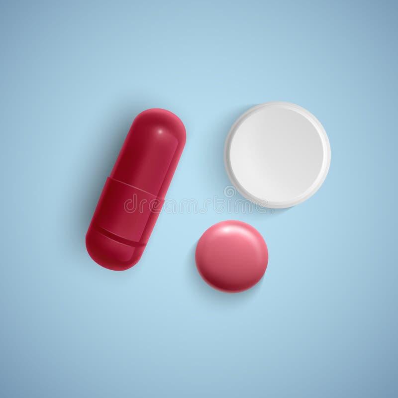 Cápsula realística e um comprimido em um fundo branco, em uma medicina, em uma cápsula vermelha e em uma tabuleta branca, ilustra ilustração royalty free