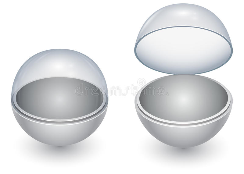 Cápsula redonda de la esfera con la cubierta de cristal ilustración del vector