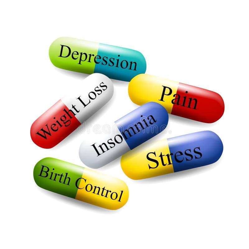 Cápsulas da medicamentação das drogas dos comprimidos ilustração royalty free