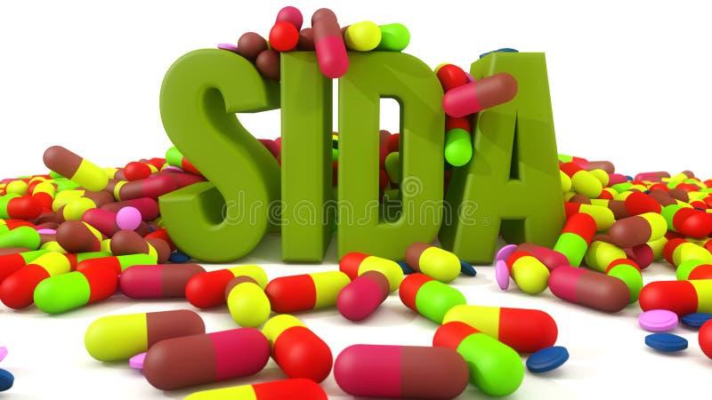 Cápsulas de la medicina del Sida stock de ilustración