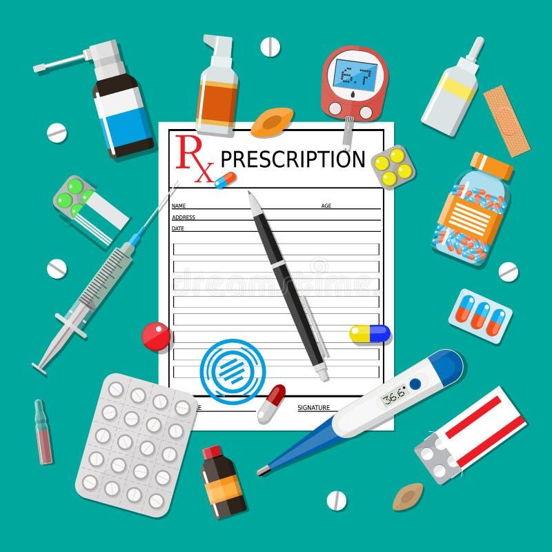 Cápsulas de las píldoras de la medicina y dispositivos de la atención sanitaria stock de ilustración