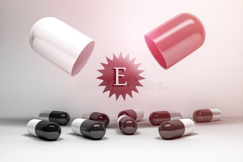 Cápsulas e comprimidos da vitamina E ilustração royalty free