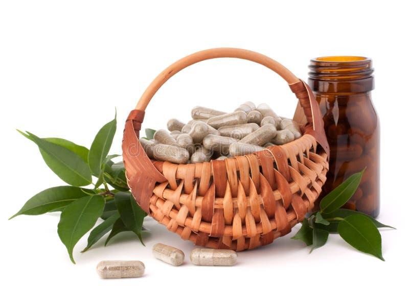 Cápsulas herbarias de la droga en cesta de mimbre. Medicina alternativa concentrada fotos de archivo