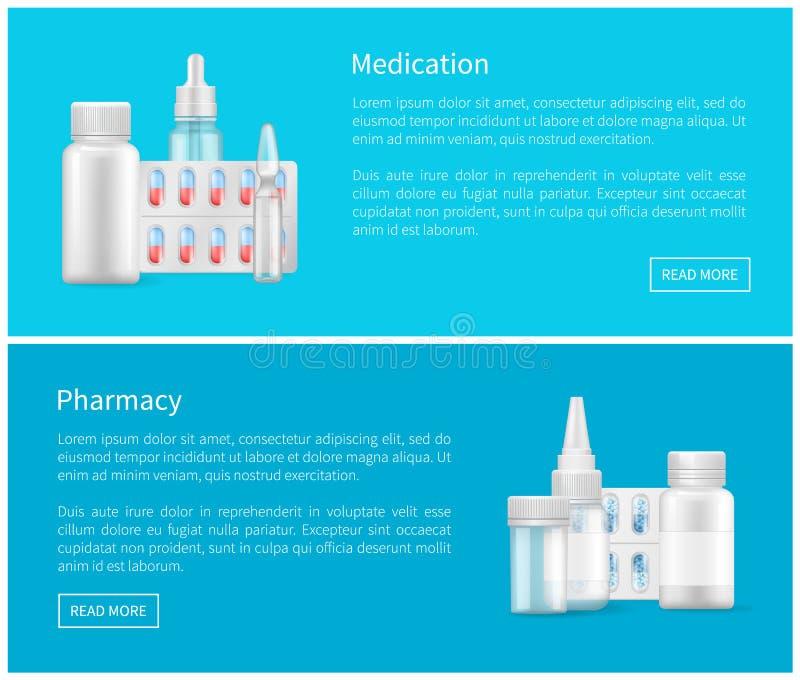 Cápsulas médicas de los envases del espacio en blanco del cartel de la farmacia stock de ilustración