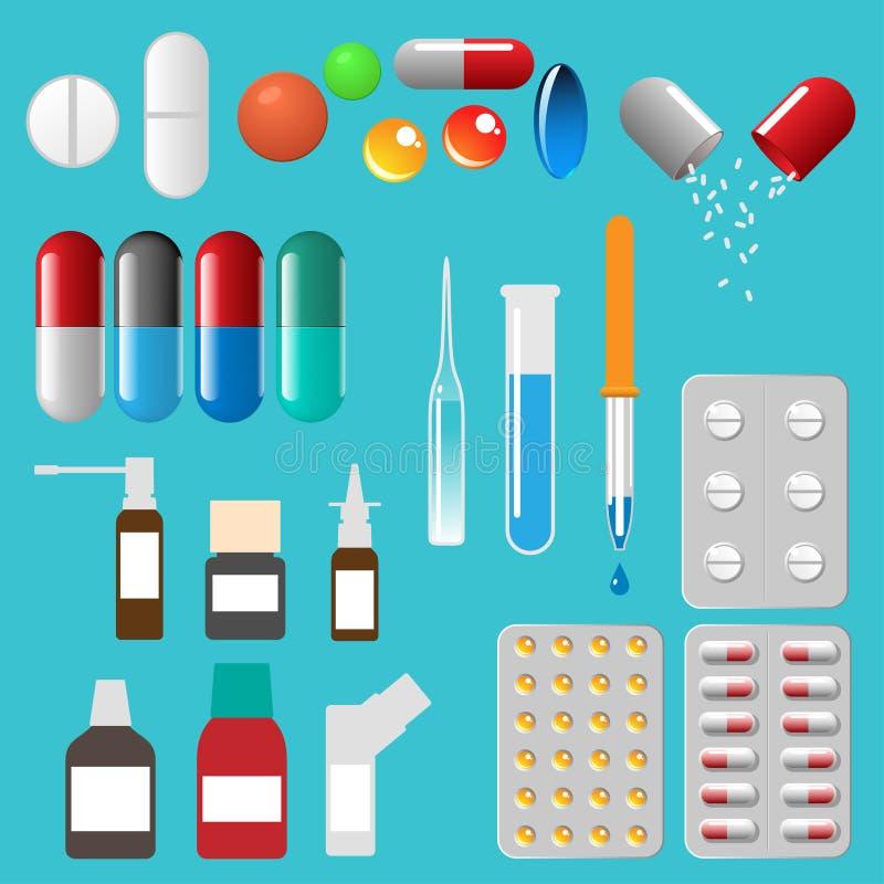Cápsulas médicas e outro dos comprimidos ilustração do vetor