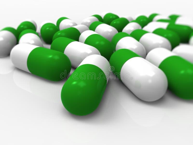 Cápsulas verdes, médicas, comprimidos, medicina, drogas ilustração royalty free