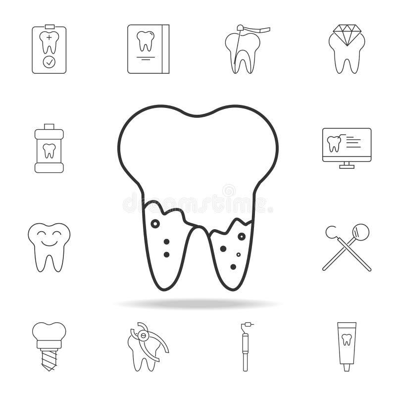 Cárie na raiz do ícone do dente do kawaii Grupo detalhado de linha dental ícones do esboço Ícone superior do projeto gráfico da q ilustração do vetor