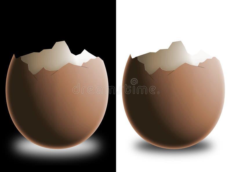 Cáscara de huevo quebrada stock de ilustración