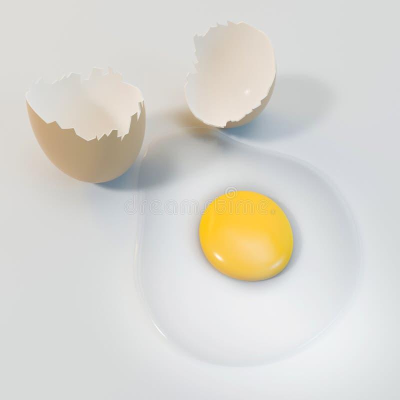 cáscara de huevos de la representación 3d en el fondo blanco imágenes de archivo libres de regalías