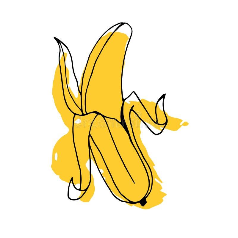Cáscara sana amarilla madura del icono de la comida de la fruta fresca del ejemplo del plátano libre illustration