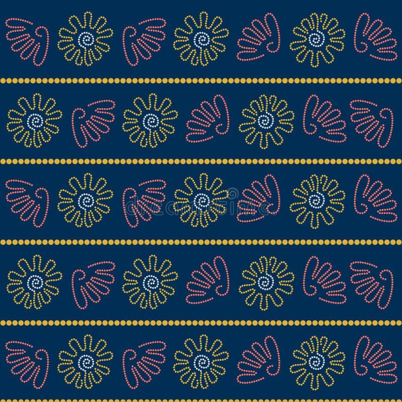 Cáscaras Arte del punto Arte aborigen australiano Paleta de colores limitada Rayas horizontales ilustración del vector