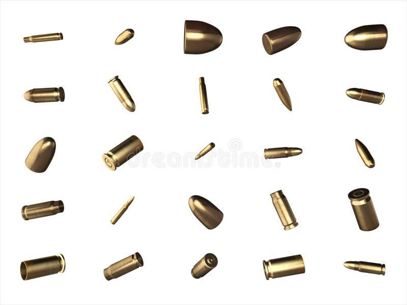 Cáscaras de balas y cartuchos aislados en el fondo blanco imagen de archivo libre de regalías