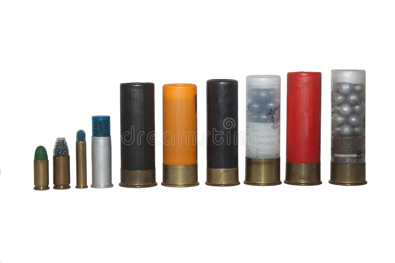 cáscaras de escopeta, diversos tipos y calibre fotos de archivo libres de regalías