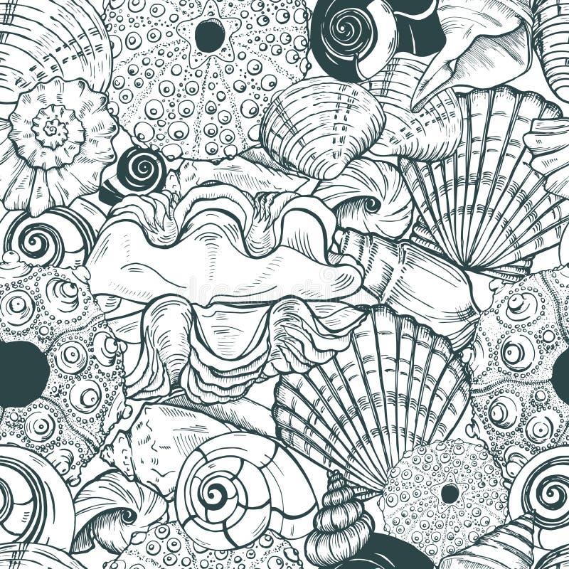 Cáscaras del mar y modelo inconsútil de las cáscaras del erizo de mar stock de ilustración