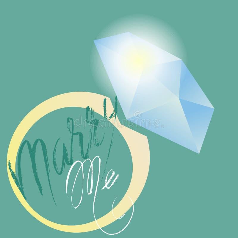 Cáseme caligrafía de la frase Vector que pone letras a diseño de motivación del cartel o de tarjeta Icono del anillo Ilustración  ilustración del vector