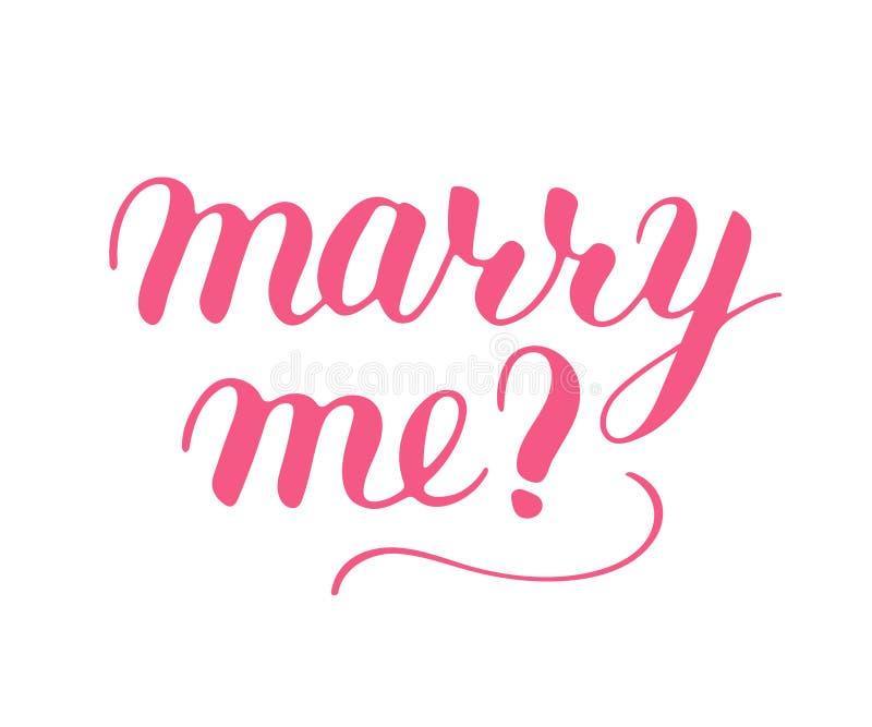 Cáseme frase para proponer y para hacer estallar la pregunta, letras manuscritas, caligrafía de la escritura, oferta rosada de la ilustración del vector