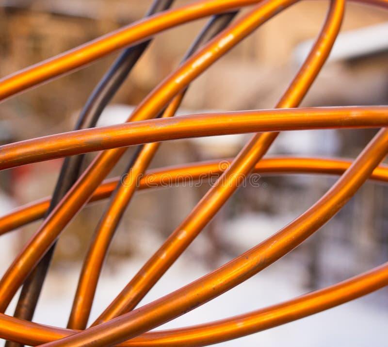 Câblage cuivre rouge comme fond photos libres de droits