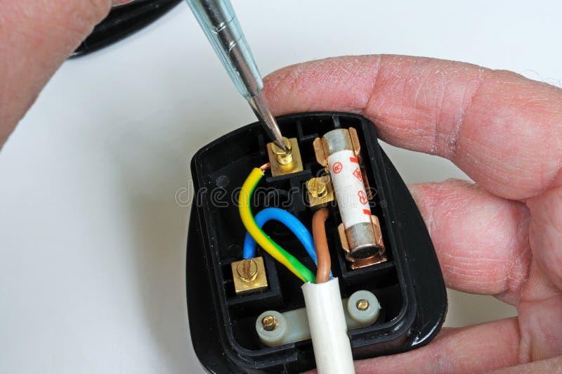 Câblage d'une prise anglaise. photo stock