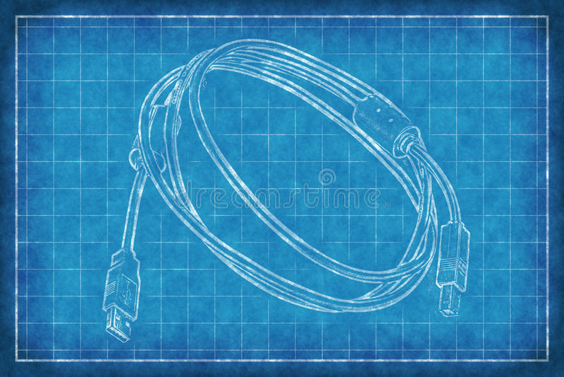 Câble avec des connecteurs - croquis de mise au point illustration libre de droits