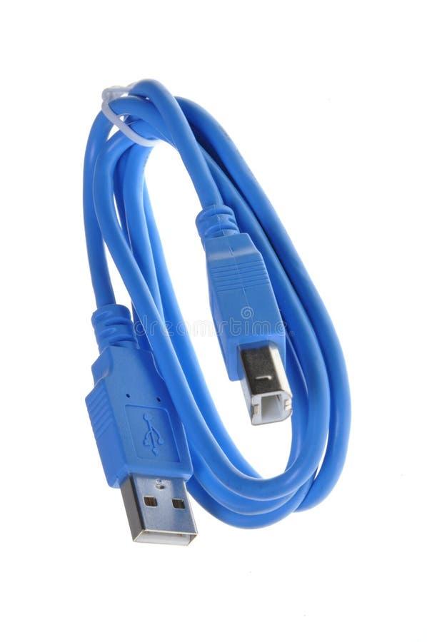 Câble bleu d'ordinateur d'Usb photo libre de droits