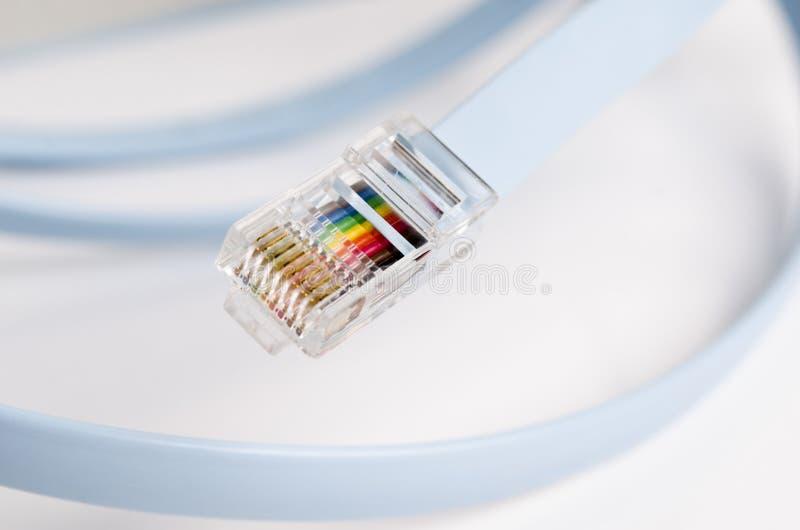 Câble bleu de connexion internet et détail de prise d'isolement sur le fond blanc image libre de droits