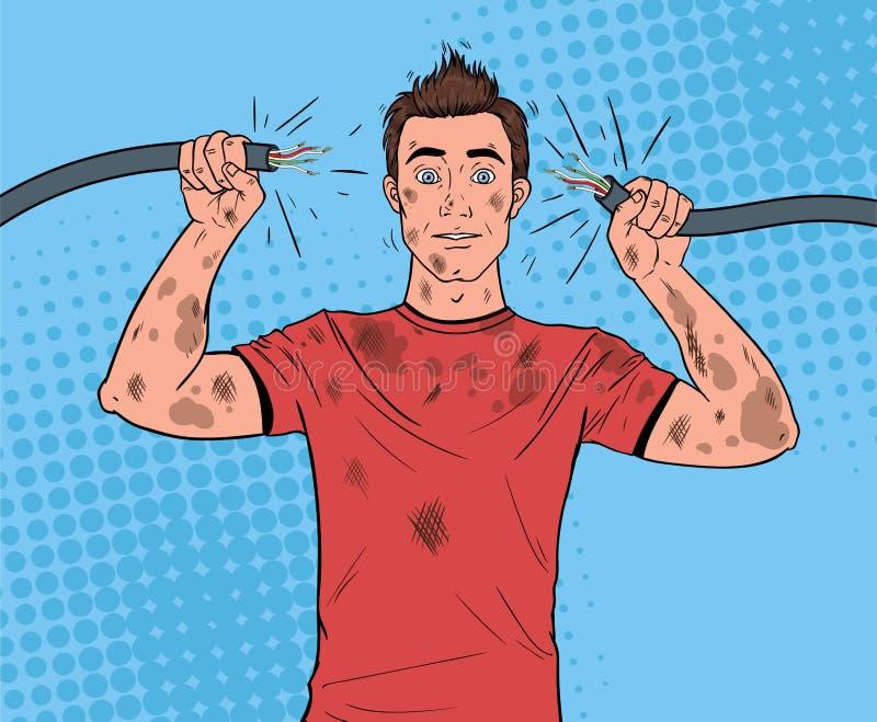 Câble d'Art Man Holding Broken Electrical de bruit illustration libre de droits