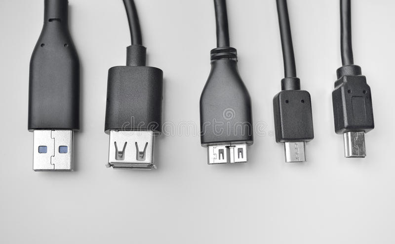 Câble d'USB, de mini-USB et de micro-USB photos libres de droits