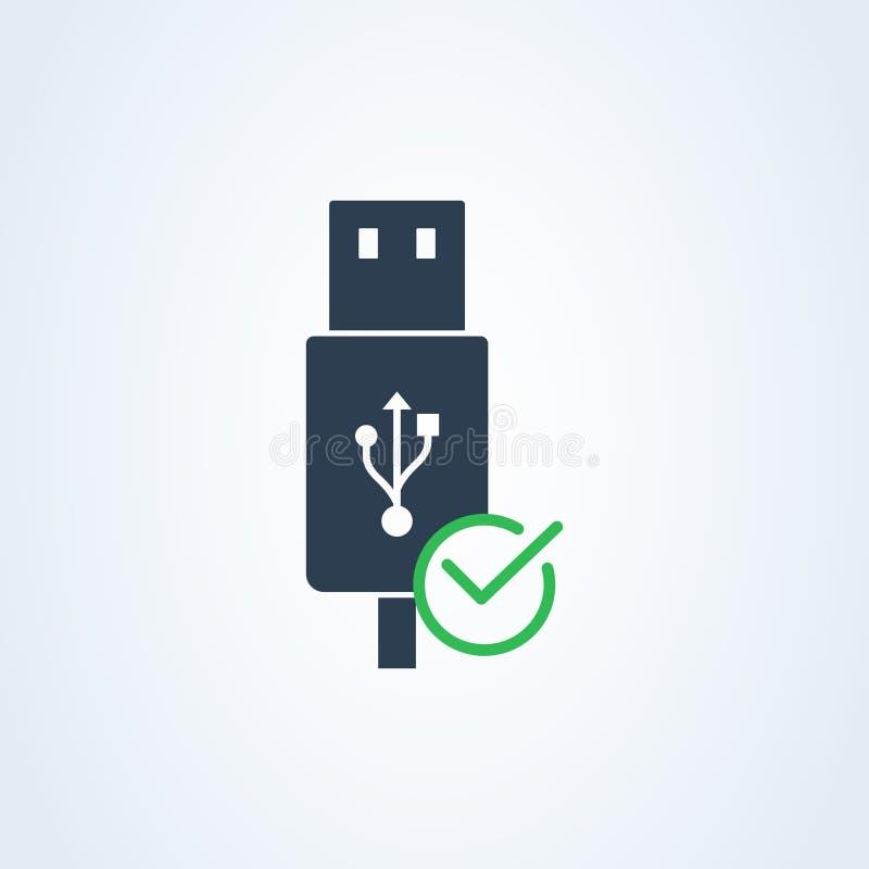 Câble d'usb d'icône de vecteur contrôle de coutil symbole correct positif vert illustration de vecteur