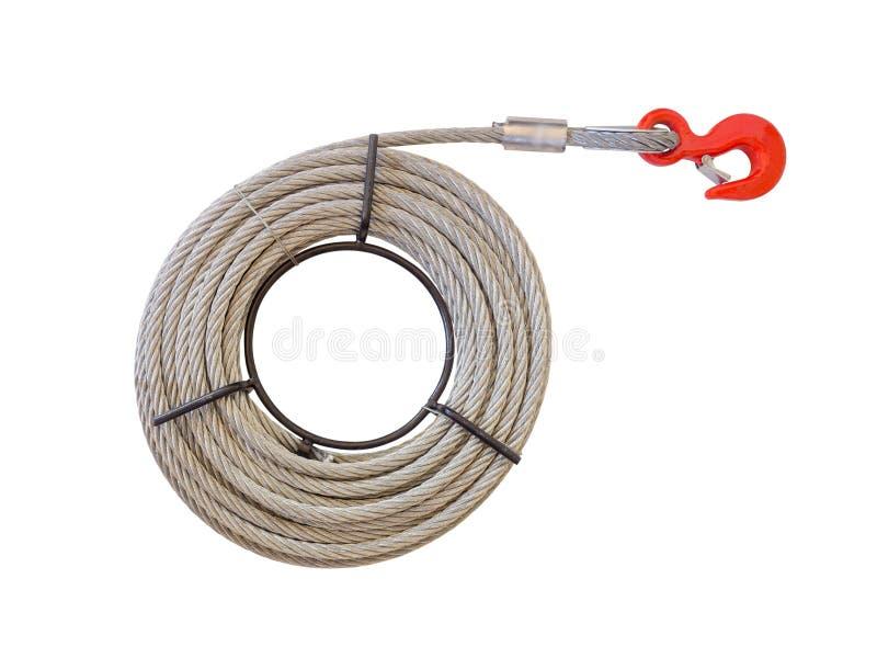 Câble de corde de fil d'acier et crochet rouge d'isolement sur le fond blanc Chemin de coupure images stock