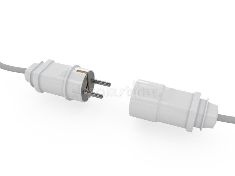 Câble de courant électrique avec la prise et la prise illustration libre de droits