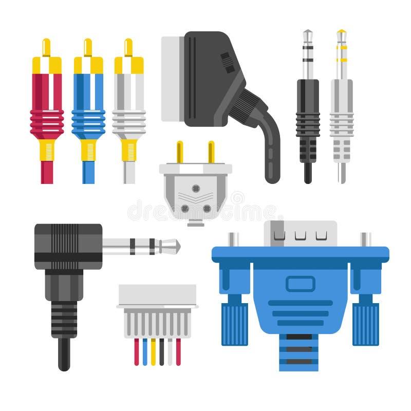 Câble et connexion de dispositifs de technologie d'adaptateur et de prise de connecteur illustration stock