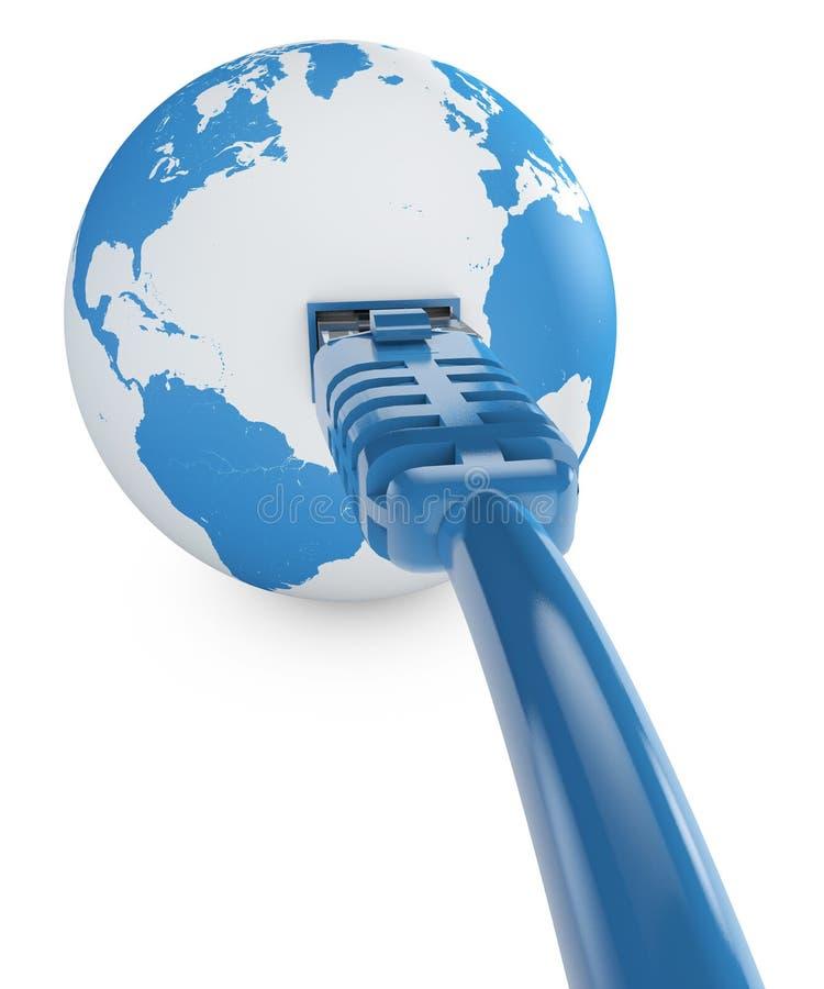 Câble Ethernet, connexion internet, largeur de bande Le monde sur le Web Connexions du monde, globe illustration de vecteur