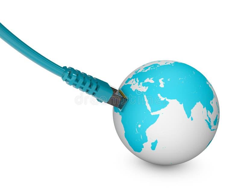 Câble Ethernet, connexion internet, largeur de bande Le monde sur le Web Connexions du monde, globe illustration libre de droits