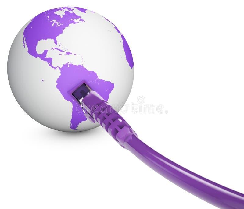 Câble Ethernet, connexion internet, largeur de bande Le monde sur le Web Connexions du monde, globe illustration stock