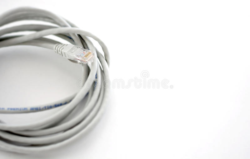 Câble Ethernet sur le fond blanc photo stock