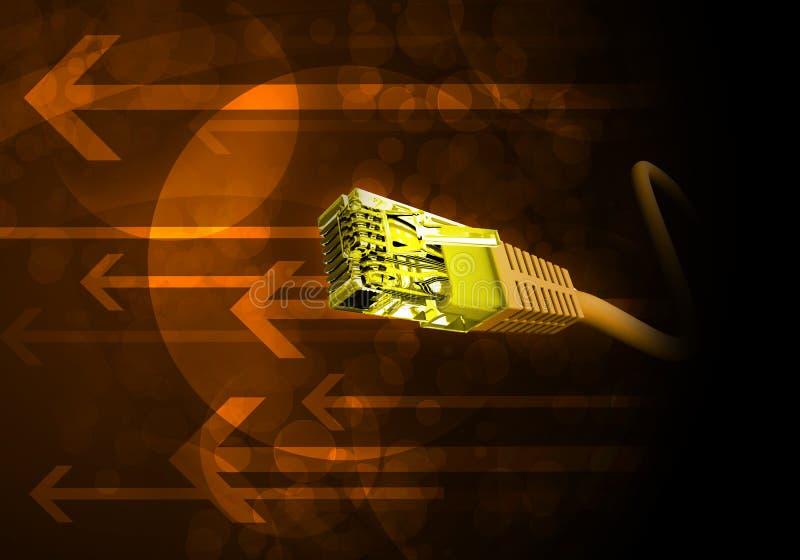 Câble jaune d'ordinateur avec des flèches illustration libre de droits