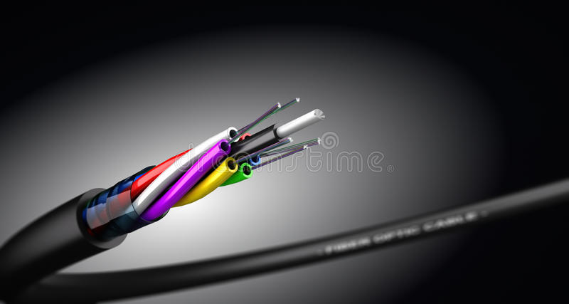 Câble optique de fibre illustration stock