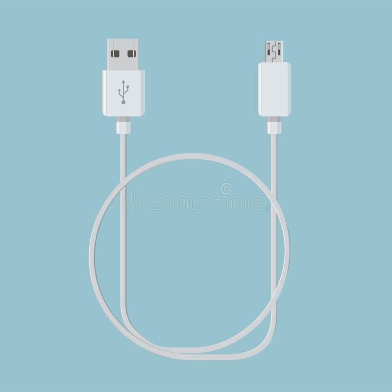 Câble réaliste d'usb pour le vecteur de connexion de dispositif illustration libre de droits