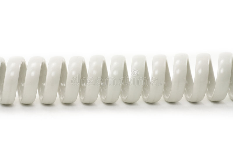 Câble téléphonique spiralé photo stock