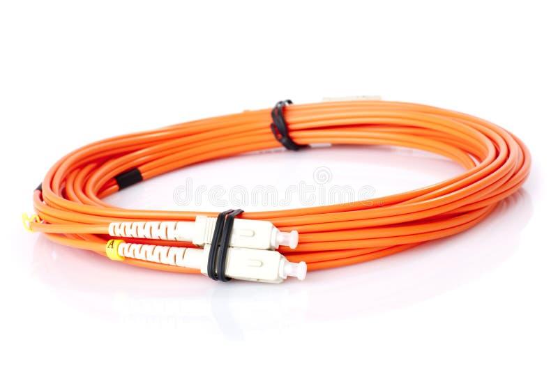 Câbles à fibres optiques de réseau image libre de droits