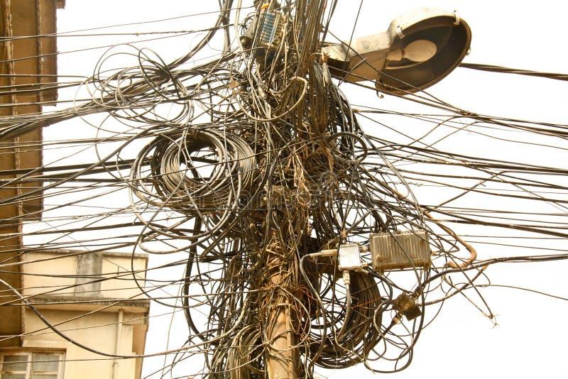 Câbles électriques de Katmandou photos libres de droits