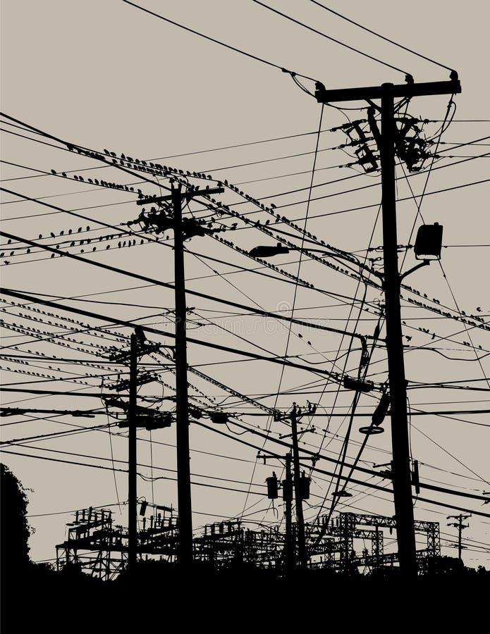 Câbles électriques en ciel illustration libre de droits