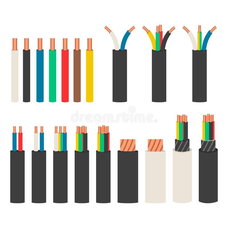 Câbles électriques Placez avec des variétés de fil électrique illustration libre de droits