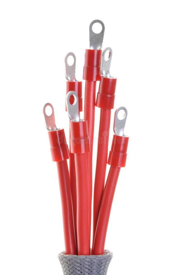 Câbles électriques rouges photographie stock libre de droits