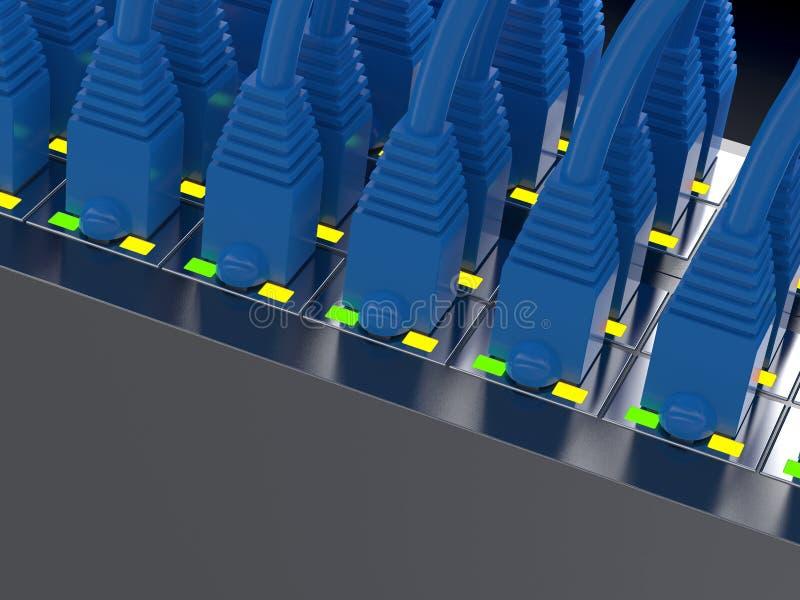 Câbles bleus de réseau illustration de vecteur