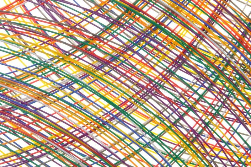 Câbles dans des réseaux de télécommunication images libres de droits