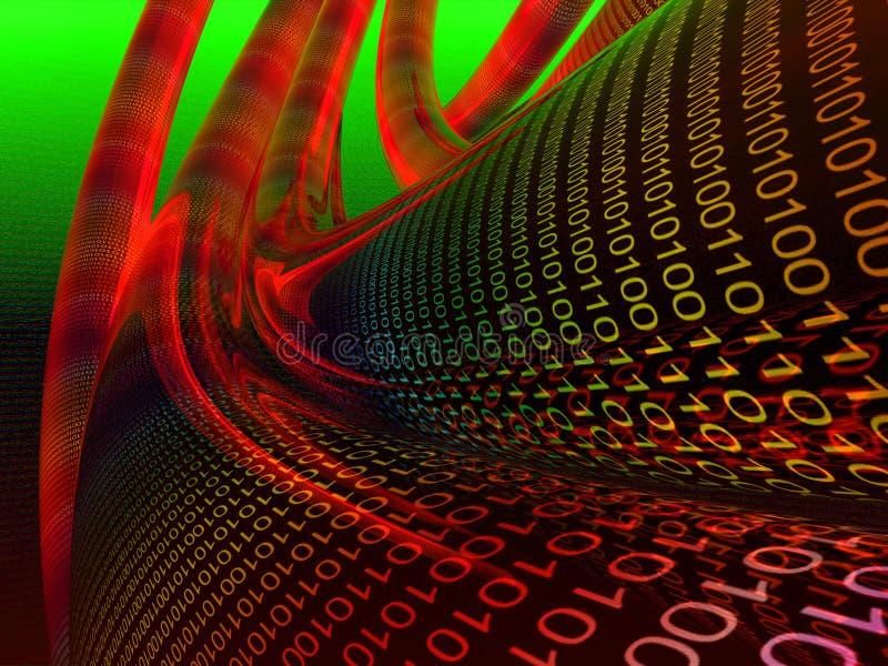 Câbles de données binaires rouge foncé illustration libre de droits
