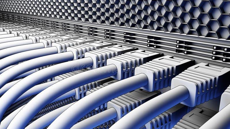 Câbles et connecteurs de serveur Opacifiez les technologies, ISP, concepts de démarrage informatiques 3D rendu, version de bande  illustration libre de droits