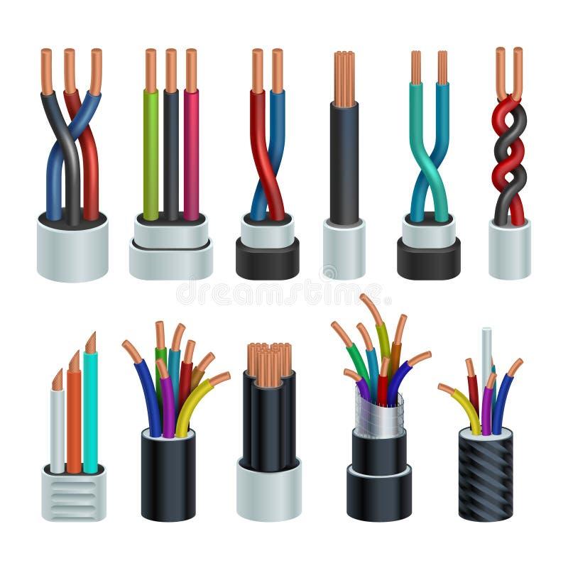 Câbles industriels électriques réalistes, ensemble électrique de vecteur de câblages cuivre d'isolement illustration stock
