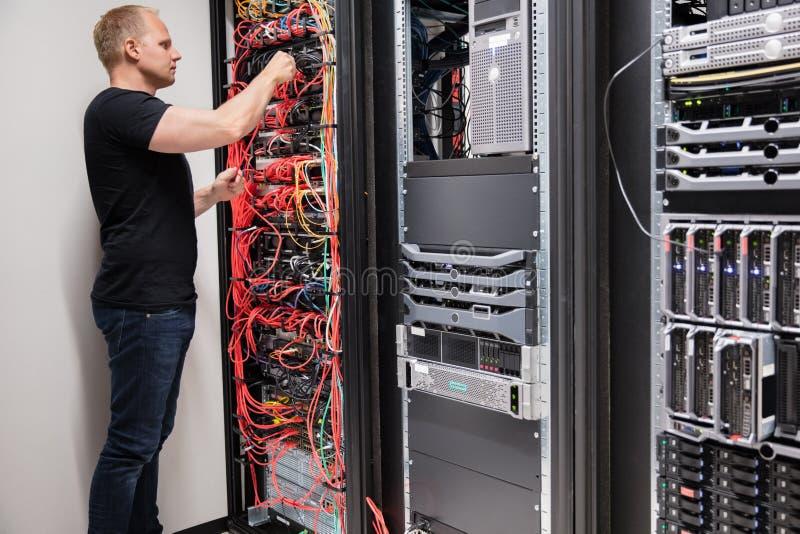 Câbles informatiques de Checking With Network de technicien reliés aux serveurs photographie stock libre de droits
